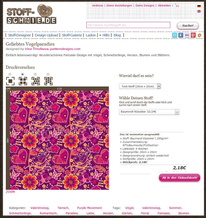 Design: Geliebtes Vogelparadies, Irina Timofeeva - www.Stoff-Schmie.de