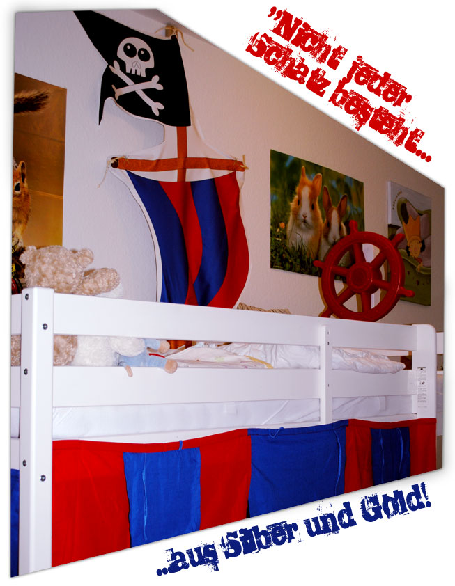 pimp up your hochbett oder kinderbett piratenschiff aus selbst bedrucktem stoff blog stoff. Black Bedroom Furniture Sets. Home Design Ideas