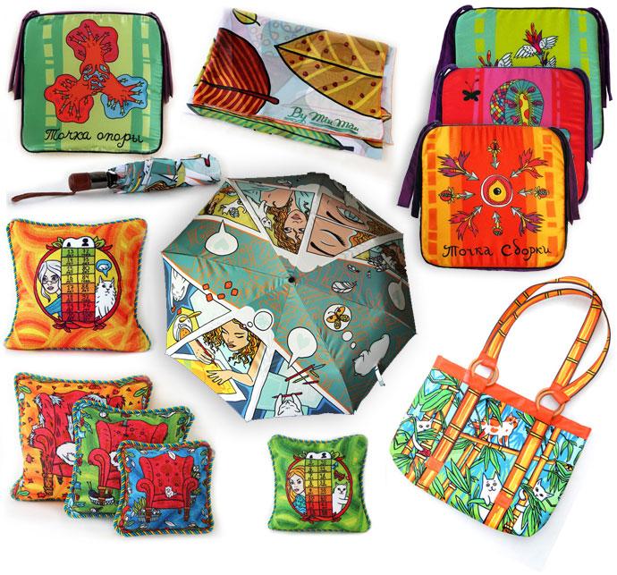 Eigene Illustrationen auf Stoff - entweder als Kissen, Regenschirm, Tasche uvm.