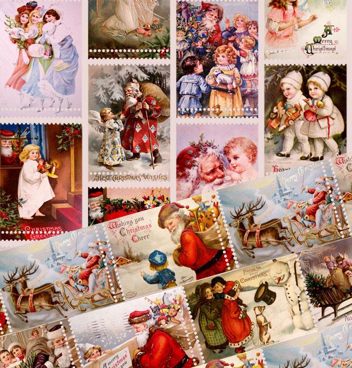 Weihnachtliche Vintage Stoff im Briefmarken Look
