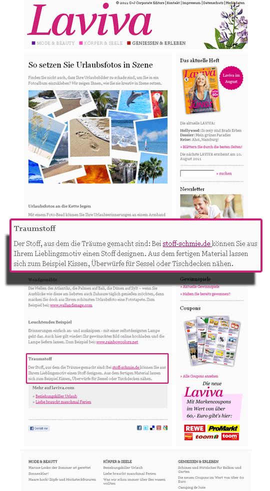 Die Stoff-Schmie.de zu Gast bei laviva.com