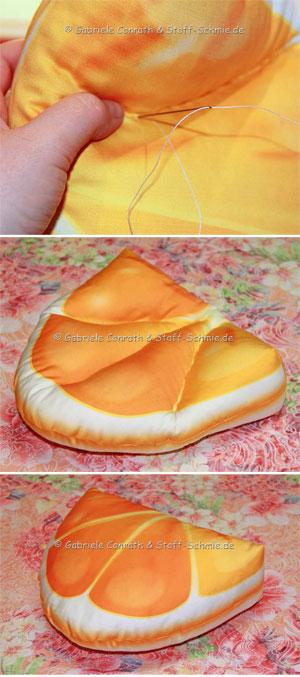 Orangen Kissen für Dein Sofa selbermachen