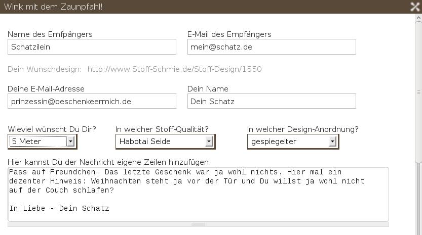 Blog-Stoff Bild zu Schenken leicht gemacht - Teil II: Der Zaunpfahl auf Blog.Stoff-Schmie.de