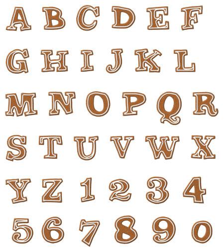 Lebkuchen Buchstaben auf Stoff
