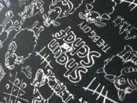 Bedruckter Stoff im Bild - beigetragen von Shaun das Schaf