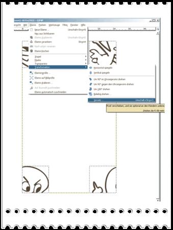 Alles Markieren und in Gimp mit Ebene/Transformation/Versatz  arbeiten. Bei Photoshop gibt es unter  Filter->Sonstige/Other->Verschiedbungseffekt/Offset den gleichen  Effekt.