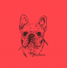 Design - French Bulldog Stoff rot-orange - by Bolzplatzrocker, read more about this textile design