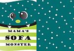 Sofa Monster (30x40cm mit Wunschtext)